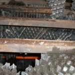 riempimenti danneggiati e deformati da calore su torri evaporative in acciaieria